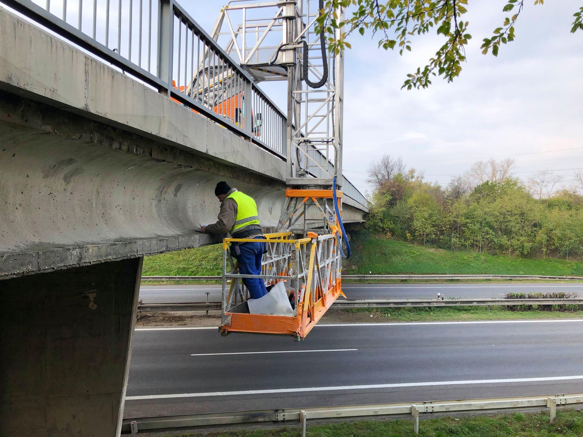 Diagnostika mosta, príprava diaľničného zjazdu Stupava sever